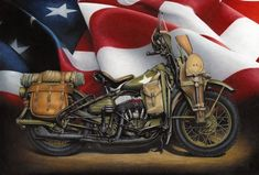 """""""1941 WLA Harley Davidson"""" by Russell McKeand, Munci // This current print is the motorcycle that was used during World War II by the United States military. They also made a variant for the allies.  It was based on the civilian model WL. It had a 45 cubic inch engine. Production stopped after the war, but would be brought back for a... // Imagekind.com -- Buy stunning, museum-quality fine art prints, framed prints, and canvas prints directly from independent working artists and…"""