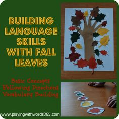 Fall Leaf Activities to promote speech and language skills in preschoolers from playing with words 365.com