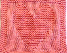 Knitting Cloth Pattern - HEART - PDF