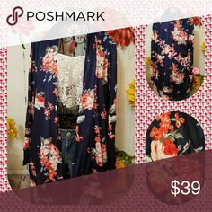 Stunning! GORGEOUS ROSES OPEN CARDIGAN TOP 2X&3X! ABSOLUTELY GORGEOUS OPEN style cardigan/wrap. Navy blue with red to pink roses!! Wide banded sleeve cuffs and bottom hem.  VERY light weight and so perfect with almost any outfit!! Loose and comfortable!! Easily dressed up or down.  Will be adding more pics on PLUS size form. ABSOLUTELY stunningly pretty!! Very classy and sooo BEAUTIFULLY practical. Material is 85% polyester/15% spandex. 2x chest is 25.5 in unstretched and 30 in long from top…