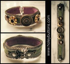 Buttons, zippers and hardware on easy to make bracelet. www.holeybuttons.com