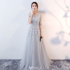 f155b7280eb Elegant Grey Evening Dresses 2017 A-Line   Princess Scoop Neck 1 2 Sleeves  Appliques Lace Sash Floor-Length   Long Ruffle Pierced Backless Formal  Dresses