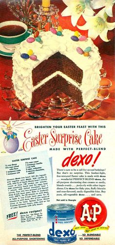 A&P DEXO EASTER SURPRISE CAKE APRIL 1949