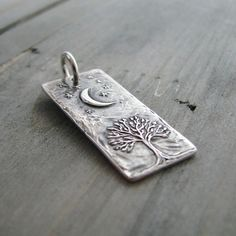 Smiling Moon Personalized Fine Silver Pendant by SilverWishes