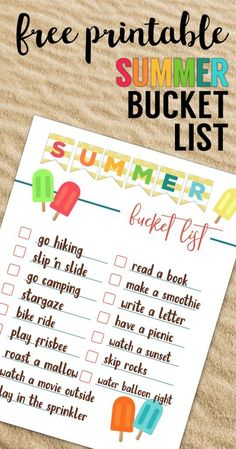 Free Printable Summer Bucket List Ideas Template. Family bucket list template for kids, adults, toddlers, or teens, college, or couples. #papertraildesign #summeractivities #summerfun #summervibes