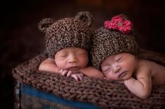 Baby Girl Hat and Baby Boy Hat Bear Hat Twin Pack to Match Cocoon Photo Prop on Etsy, $40.00
