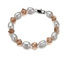 ARINA- riečne perly, dámsky náramok + rakúske krištály vo farbe šampanské, 20cm Beaded Bracelets, Jewelry, Jewlery, Jewerly, Pearl Bracelets, Schmuck, Jewels, Jewelery, Fine Jewelry