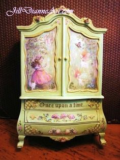 Hand-painted Finding Ballet Fairies Baby Cupboard - Roses, Rabbits,Cat, Butterflies, Castle, - Dollhouse Miniatures - Jill Dianne