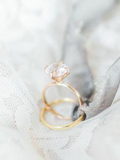 Gold diamond ring: Wedding Dress: Claire Pettibone - http://www.stylemepretty.com/portfolio/claire-pettibone-2 Ring: Susie Saltzman - http://www.stylemepretty.com/portfolio/susie-saltzman-fine-jewelry Photography: Lauren Fair Photography - laurenfairphotography.com   Read More on SMP: http://www.stylemepretty.com/2017/02/27/upstate-new-york-springtime-styled-shoot/