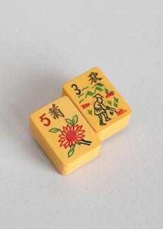 Vintage Mahjong Tile Brooch.