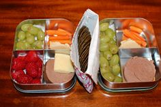 LunchBots lunches Grapes, carrot sticks and hummus, liverwurst, raw cheddar (for Older Brother), raspberries, and brown rice snaps