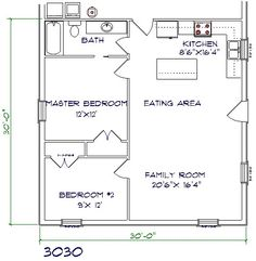 Barndominium floor plan 2 bedroom 1 bathroom 30x30