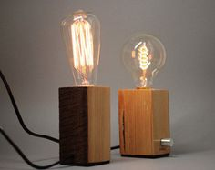 wood block edison lamp - Google Search