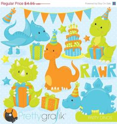 80% OFF SALE Birthday dinosaur party clipart by Prettygrafikdesign