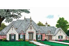 Plan French Country House Plan with Dormers Illuminating Cathedral Great Room French Country House Plans, European House Plans, Home Design Plans, Plan Design, House Floor Plans, Great Rooms, Architecture Design, How To Plan, House Styles