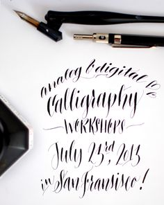 ~ Dying to take a Calligraphy Workshop someday! Calligraphy Letters, Typography Letters, Modern Calligraphy, Writing Fonts, Writing Letters, Design Tutorials, Design Ideas, Invitation Fonts, Hand Lettering Practice