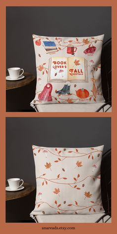 The perfect pillow for a book lover who loves the Fall season. This throw pillow is made from moisture-wicking polyester that has a high-end linen feel to it. It's two-sided, one side has the bookish design and the other one a simpler design. Cute Home Decor, Handmade Home Decor, Unique Home Decor, Home Decor Items, Gifts For Librarians, Gifts For Bookworms, Fall Pillows, Throw Pillows, Decorative Items
