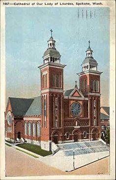 Cathedral of Our Lady of Lourdes Spokane, Washington Original Vintage Postcard
