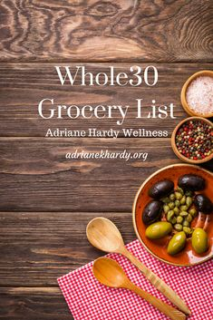 Get you FREE Whole30 Grocery list HERE!! The list is totally printable and full of great items to find in any store. Be sure to save and re-pin and visit adrianekhardy.org for more goodies including a FREE Whole30 Cheat Sheet to help you get started!