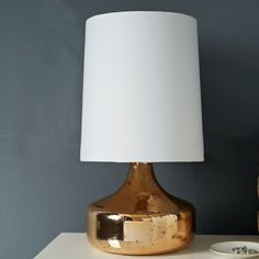 Rose Gold Perch lamp. #westelm  I like the shape, but not the metal.  Base should be ceramic.