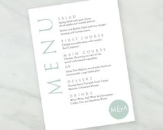 Printable Dinner Menu  Bon Appetit Menu  Instant Digital