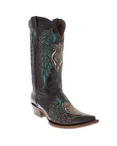 """#Country #Wedding Women's 12"""" Black Turquoise Inlay Cowboy Boots by Pecos Bill"""