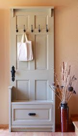 Entry bench made from recycled doors- easy DIY tutorial!   |  I think I'm repurposing the re pin, but what the heck, So many iterations of this could be made to match ' Your ' Decor Primitive to Regency to you name it.