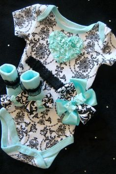 NEWBORN baby girl take home outfit complete with mint damask heart onesie, matching mint socks hair bow