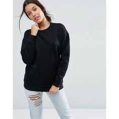 ASOS Ultimate Oversized Sweat (€21) ❤ liked on Polyvore featuring tops, hoodies, sweatshirts, black, night out tops, party tops, asos, fitted tops and oversized crew neck sweatshirt