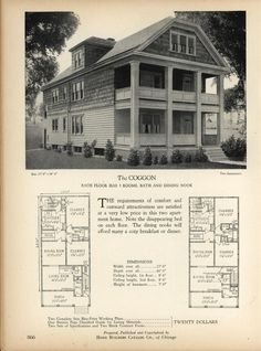 The COGGON - Home Builders Catalog: plans of all types of small homes by Home Builders Catalog Co. Published 1928 Sims Building, Building Plans, Architecture Drawings, Historical Architecture, Vintage House Plans, Multi Family Homes, House Layouts, Kit Homes, House Floor Plans
