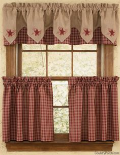Charmant Sturbridge Star Embroidered Lined Point Curtain Valances · Americana KitchenCountry  CurtainsPlaid CurtainsHalf Window ...