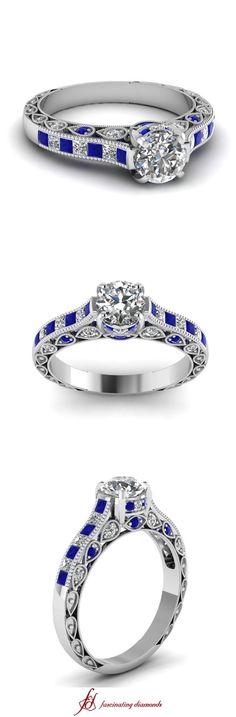 Milgrain Queens Crown Ring ||  Round Cut Diamond Milgrain Rings With Blue Sapphire In 14k White Gold