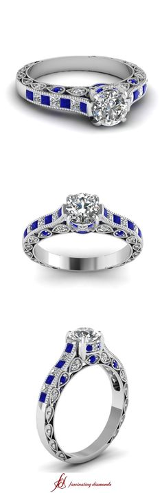 Please like and share my video!! THANKS!! https://www.pinterest.com/pin/503206958343459752/  Milgrain Queens Crown Ring || Round Cut Diamond Milgrain Rings With Blue Sapphire In 14k White Gold