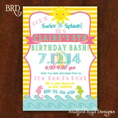 Swim Party Pool Party Beach Party Invitation 5x7 Printable Fish Sea Underwater Birthday Bash Summer BBQ Pool Party