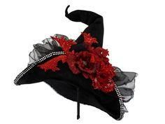 Witch Hat Witch Costume Hat Black Velvet by IfTheHatFitsByJackie, $95.00