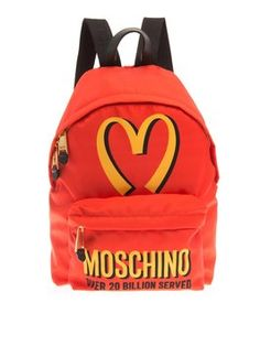 Moschino New! Logo-print Fast Food Mcdonald's Canvas Backpack. Get one of the hottest styles of the season! The Moschino New! Logo-print Fast Food Mcdonald's Canvas Backpack is a top 10 member favorite on Tradesy. Save on yours before they're sold out!