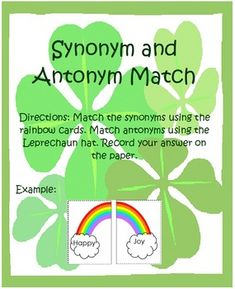 St. Patrick's Day Synonyms and Antonyms Center - 24 cards and blank ones for making your own. Everything you need for a complete center!   $