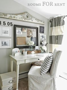 Favorite Things Friday - Beachy Farmhouse Tour - Gold valance to create a gallery