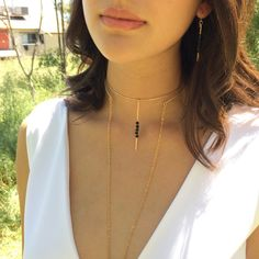 Minimalistic jewelry onix gemstone chic and trendy just for you Earrings and choker