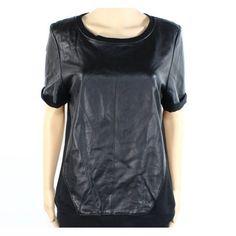 Halogen NEW Black Womens Size Large L Scoop Neck Leather Blouse