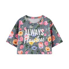 Letter Floral Print Cropped Tee (1,105 INR) ❤ liked on Polyvore featuring tops, t-shirts, floral print tops, floral print t shirt, cut-out crop tops, crop t shirt and flower print tops