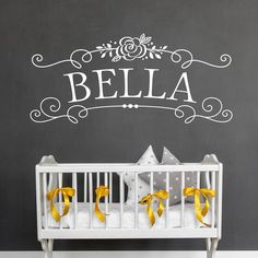 Girl's Name - Nursery Wall Decal - Custom Wall Decal - Personalized Decor - Girls Room Wall Sticker Lettering by OldBarnRescueCompany on Etsy https://www.etsy.com/listing/521535308/girls-name-nursery-wall-decal-custom