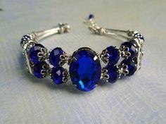Luv the blue @eBay! Blue sapphire crystal bangle style bracelet w/ whi