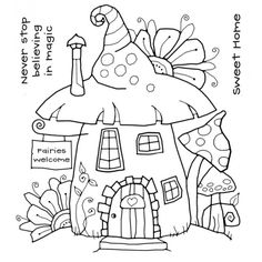 Woodware Clear Magic Singles by Francoise Read Fairy House Stamp House Colouring Pages, Fairy Coloring Pages, Adult Coloring Pages, Coloring Books, Embroidery Patterns, Hand Embroidery, House Doodle, House Drawing, Fairy Houses