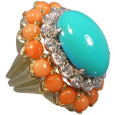 Elegant Persian Turquoise, Coral, and Diamond Ring