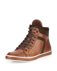 Kenneth Cole Big Brand Leather High-Top Sneaker, Cognac (Red), Men's, Size: 12