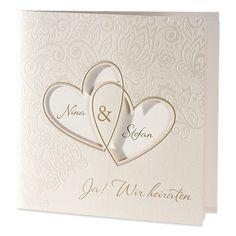Perlmutt glänzende Einladungskarte zur Hochzeit. Florale Verzierungen schmücken die Hochzeitseinladung und verleihen ihr eine elegante Note.