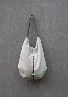 stone canvas and Leather Tote Extra Large Handbag Hobo Bag Leather Tassel, Braided Leather, Tote Purse, Hobo Bag, Pierre Turquoise, Hobo Style, Linen Bag, Large Handbags, Fabric Bags