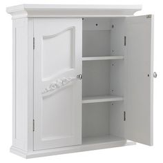 Elegant Home Fashions Versailles Wall Cabinet With 2 Doors White Rangement