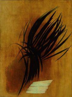 Hans Hartung, T. 54-7, 1954, huile sur toile, 130x97 cm, Paris, Musée national d'Art moderne/Centre Pompidou  © Service de la documentation photographique du MNAM - Centre Pompidou, MNAM-CCI (diffusion RMN)  © Adagp, Paris